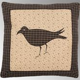 Kettle Grove Single Crow Embroidered Pillow Multi Warm 16 Square