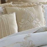 Avenal Embroidered Fringed Pillow Champagne 18 Square