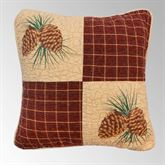 Pine Lodge Patchwork Pillow Mahogany 15 Square