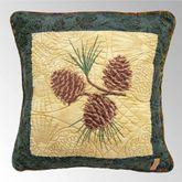 Cabin Raising Pine Cone Embroidered Pillow Multi Earth 15 Square