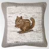 Birch Forest Embroidered Chipmunk Pillow Silver Gray 18 Square