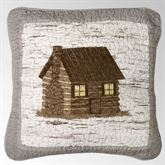 Birch Forest Embroidered Cabin Pillow Silver Gray 18 Square
