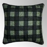 Bear Walk Quilted Plaid Pillow Dark Green 18 Square