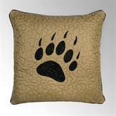 Bear Walk Embroidered Bear Paw Pillow Dark Amber 18 Square