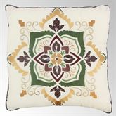 Spice Postage Stamp Piped Embroidered Pillow Multi Warm 18 Square