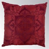 Spice Postage Stamp Tailored Embroidered Pillow Burgundy 18 Square
