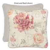 Nadia Reversible Floral Corded Pillow Parchment 18 Square
