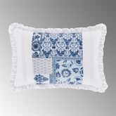 Tessa Pieced Ruffled Pillow Indigo Rectangle