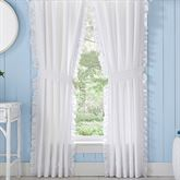 Tessa Ruffled Curtain Pair White 82 x 84