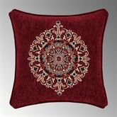 Taormina Embroidered Pillow Burgundy 18 Square