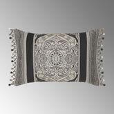 Vera Bead Fringe Tailored Pillow Black Rectangle