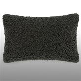 Normandy Sherpa Faux Fur Pillow Dark Gray Rectangle