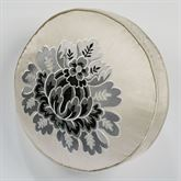 Odesa Piped Embroidered Pillow Oyster Round