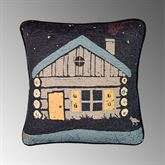 Moonlit Cabin Quilted Pillow Black 18 Square