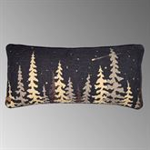 Moonlit Trees Quilted Pillow Black Rectangle