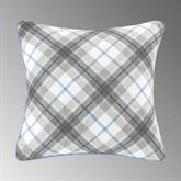 Silver Branch Plaid Piped Pillow 16 Square