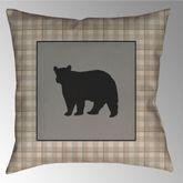 Bear Square Reversible Plaid Pillow Honey 20 Square