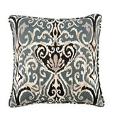 Midnight Ikat Reversible Pillow Steel Blue 17 Square
