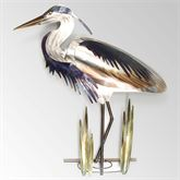 Blue Heron with Head Down Wall Sculpture Silver