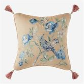 Fleur Tasseled Embroidered Pillow Almond 16 Square