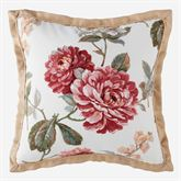 Fleur Piped Flanged Pillow Burgundy 18 Square