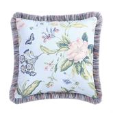 Garden Images Blue Fringed Pillow 20 Square