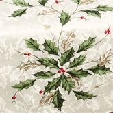 Lenox Holiday Holly Oval Tablecloth Ivory