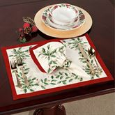 Lenox Holiday Holly Placemats Ivory Set of Four