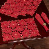 Christmas Poinsettia Cutwork Placemats Red Set of Four