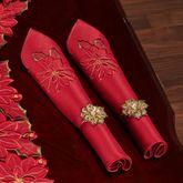 Christmas Poinsettia Napkins Red Set of Four