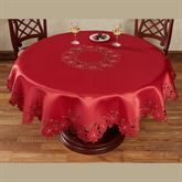 Christmas Poinsettia Cutwork Round Tablecloth Red 70 Round