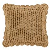 Blue Ridge Flanged Knit Pillow Tan 14 Square