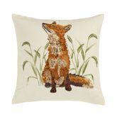 Blue Ridge Embroidered Fox Pillow Light Cream 18 Square