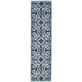 Floral Tile Rug Runner Blue 2 x 8