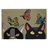 Cats and Butterflies Rectangle Mat Multi Bright