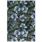 Floral Navy Rectangle Rug