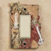 Horses Single Dimmer Rocker Brown