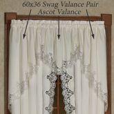 Evangelina Swag Valance Pair Ivory 60 x 36
