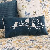 Natural Home Velveteen Embroidered Pillow Dark Blue Rectangle