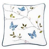 Natural Home Embroidered Butterfly Pillow Multi Warm 18 Square