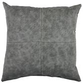 Silas Faux Leather Tailored Pillow Dark Gray 18 Square