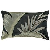 Martinique Embroidered Tailored Pillow Black Rectangle