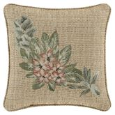 Martinique Embroidered Tweed Pillow Beige 18 Square
