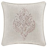 Angeline Embroidered Damask Pillow Beige 20 Square