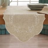 French Perle Embroidered Swirl Table Runner Natural 14 x 70