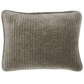 Fenton Quilted Velvet Pillow Gray Rectangle