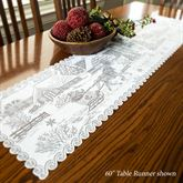 Old Fashioned Christmas Lace Table Runner White