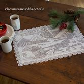 Old Fashioned Christmas Lace Placemats White Set of Four