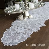 Snowflake Gathering Lace Table Runner White