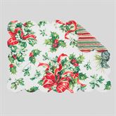 Holly and Ribbon Rectangle Placemats Red/Green Set of Four